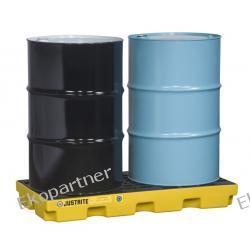 Paleta (wanna) wychwytowa, polietylenowa LOW, Eco 45%, platforma robocza, 2 beczki, 90 litrów, żółta, EU