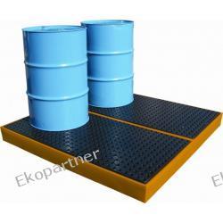 Paleta (wanna) wychwytowa, polietylenowa, platforma robocza LOW, 4 beczki, 232 litry, żółta