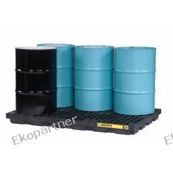 Paleta (wanna) wychwytowa, polietylenowa LOW, Eco 100%, platforma robocza, 6 beczek, 276 litrów, czarna, EU