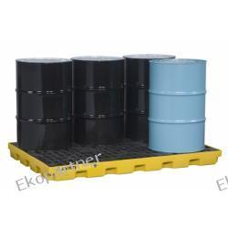 Paleta (wanna) wychwytowa, polietylenowa LOW, Eco 45%, platforma robocza, 6 beczek, 276 litrów, żółta