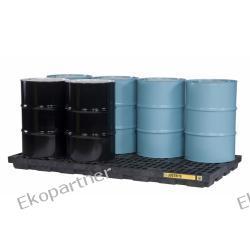 Paleta (wanna) wychwytowa, polietylenowa LOW, Eco 100%, platforma robocza, 8 beczek, 371 litrów, czarna, EU