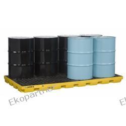 Paleta (wanna) wychwytowa, polietylenowa LOW, Eco 45%, platforma robocza, 8 beczek, 371 litrów, żółta