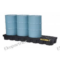 Paleta (wanna) wychwytowa, polietylenowa MEDIUM, Eco 100%, 284 l, 4 beczki/linia, czarna, EU Prawne
