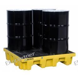 Paleta (wanna) wychwytowa, polietylenowa MEDIUM, Eco 35%, 276 l, 4 beczki/spust/kwadrat, żółta Prawne