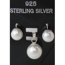 Srebrny komplet z perłami. Emily's Fashion