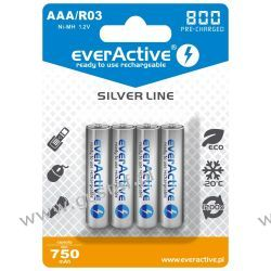 "4x everActive R03/AAA Ni-MH 800 mAh ready to use ""Silver line"" Akumulatory"