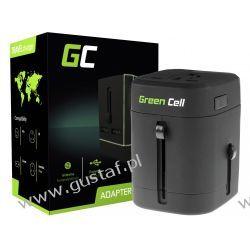 Adapter Przejściówka do Gniazdka Elektrycznego Uniwersalny z Dwoma Portami USB (GreenCell)