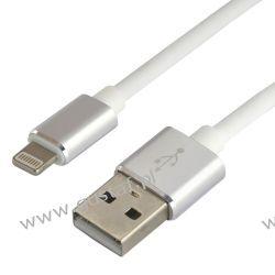 Kabel przewód silikonowy USB - Apple Lightning everActive CBS-1IW 1m z obsługą szybkiego ładowania do 2.4A biały Telefony i Akcesoria