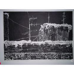 """GRAFIKA """"Anteny"""" linoryt  40,5 x 29 sre. 3/3"""