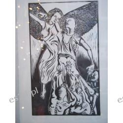 "GRAFIKA ""Mój anioł"" linoryt 20x12 cm."