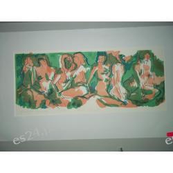 """GRAFIKA """"Westalki"""" linoryt barwny 42/16 cm. nr. 12/15"""