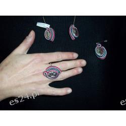 """Komplet biżuterii"""" Sutasz"""" 4 elem.kolczyki , przywieszka,pierścionek"""