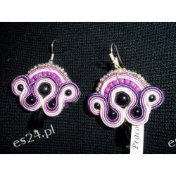 Kolczyki sutasz - różowo- fioletki- 4x 3,5 cm.