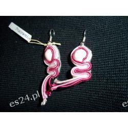 Kolczyki sutasz-- różowe- 3 cm . + 1 cm.