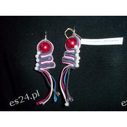 Kolczyki sutasz - różowo- fioletki - 4,5 cm + wypustki 5,5 cm.