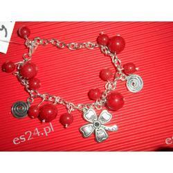 Bransoletka czerwony marmur, koniczyna, spirale