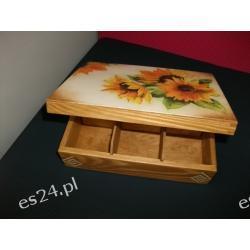 Szkatułka drewniana ze słonecznikami-decoupage