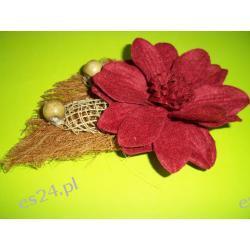 broszka , bordowy kwiatek