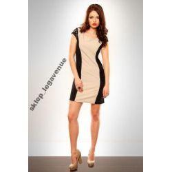 KOBIECA sukienka czarno kremowa Z KORONKĄ * S  36