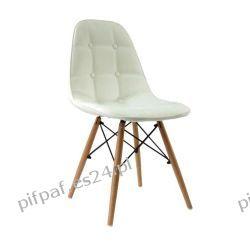 Nowoczesne krzesło pikowane do jadalni - FELICJA WHITE