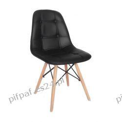 Nowoczesne krzesło pikowane do jadalni - FELICJA BLACK