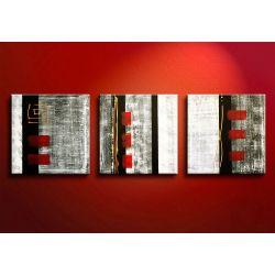 Ręcznie malowany obraz - fakturowy tryptyk, komplet: 3szt. 40x40cm