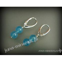 Kolczyki - wiszące kuleczki z kwarcem niebieskim