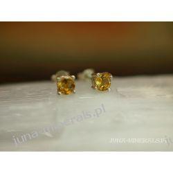 Kolczyki sztyfty - drobny cytryn fasetkowany
