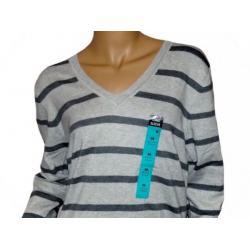 Sweter ATMOSPHERE szary/grafitowe paski V, rozm 48
