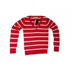 Sweter ATMOSPHERE Czerwony/białe paski V,rozmiar40