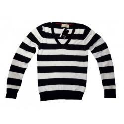 Sweter ATMOSPHERE Czarny/białe paski V, rozmiar 40