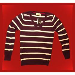Sweter ATMOSPHERE Brązowy/białe paski V,rozmiar 42