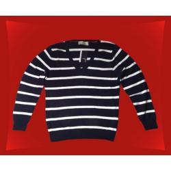 Sweter ATMOSPHERE Granatowy/białe paski V, rozm.48