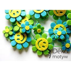 *dekomotyw* Girlanda filc kwiatki buźki 24 sztuki