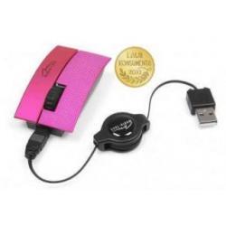 Myszka optyczna 3 przyciski + rolka zwijany kabel USB-kolor magenta ...