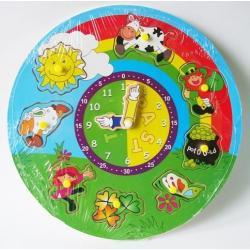 zegar edukacyjny drewniany puzzle