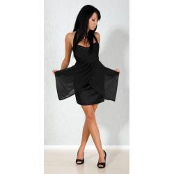 Wyjątkowa czarna sukienka zdobiona szyfonem S