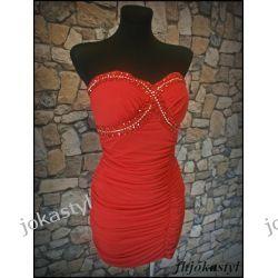 Śliczna CZERWONA sukienka Uni cyrkonie ANDRZEJKI Sukienki mini