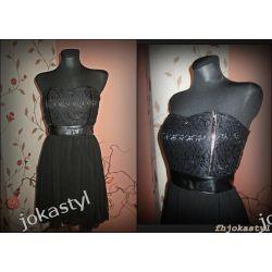 Śliczna czarna sukienka szyfon/koronka S
