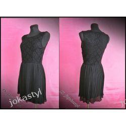 Włoska sukienka szyfon koronka ażurowa UNI czarna