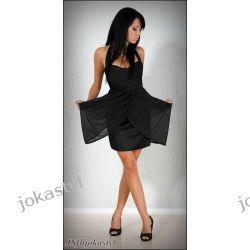 jokastyl* Czarna sukienka z szyfonem S WESELE Sukienki mini