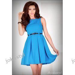 jokastyl* Rozkloszowana sukienka NIEBIESKA L 40