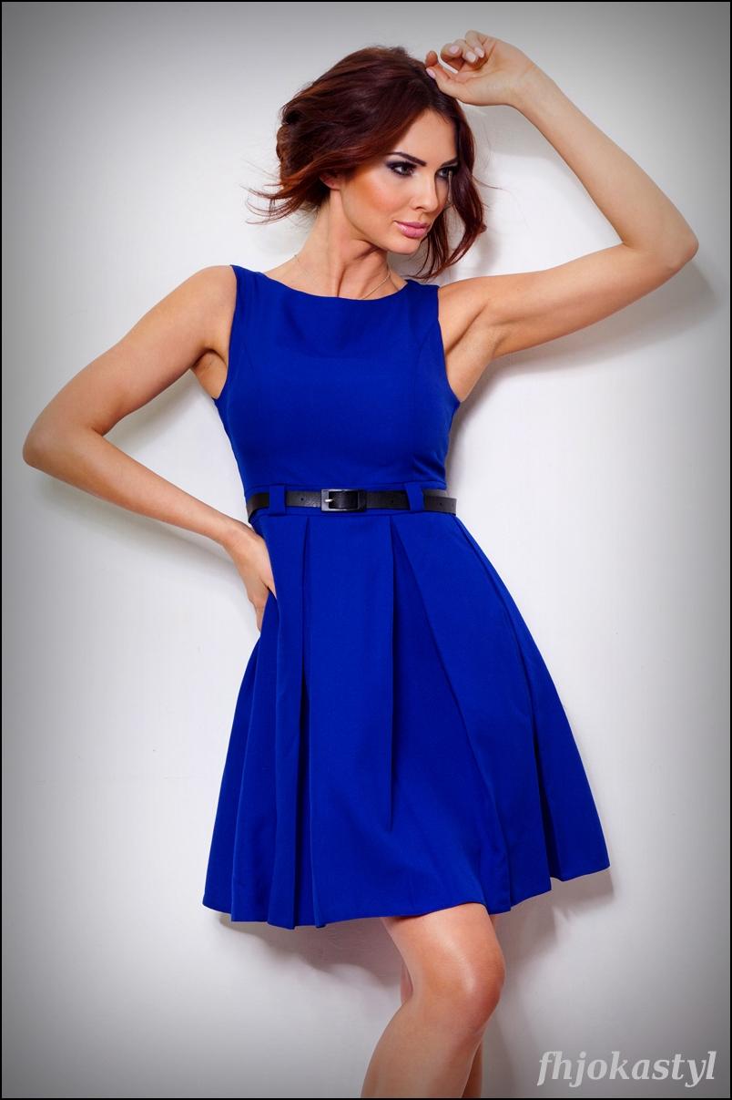 93a2125530 jokastyl Chabrowa rozkloszowana sukienka PASEK S 36 na Bazarek.pl