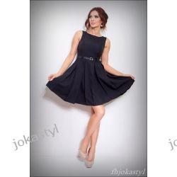 jokastyl CZARNA rozkloszowana sukienka PASEK 38 M Sukienki mini