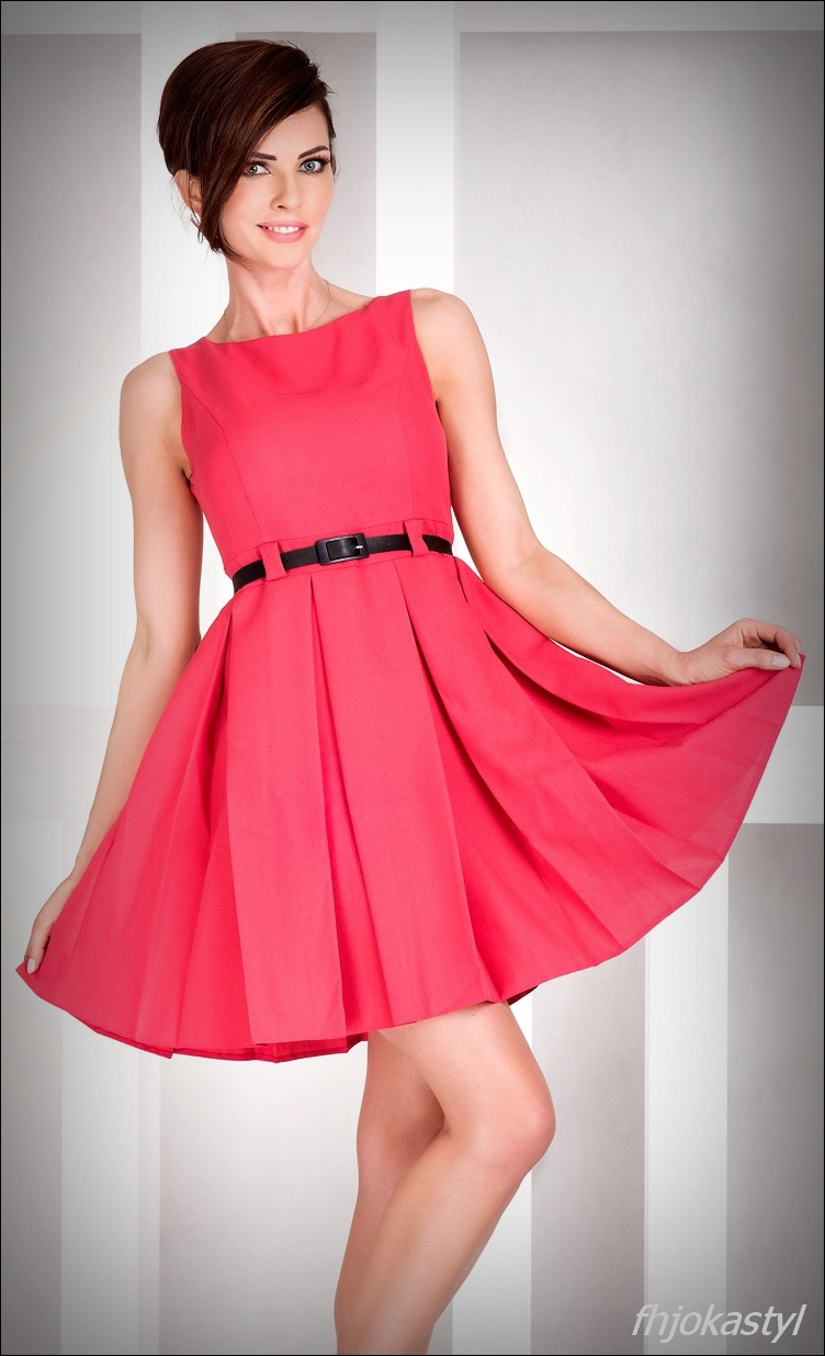 6ee9e35d90 jokastyl KORAL rozkloszowana sukienka PASEK S 36 na Bazarek.pl