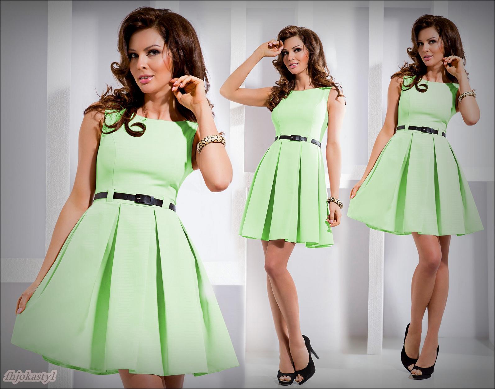 5e062581f0 jokastyl  Rozkloszowana sukienka miętowa S 36 na Bazarek.pl