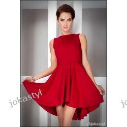jokastyl Asymetryczna czerwona sukienka M 38