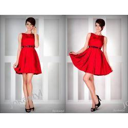 jokastyl CZERWONA rozkloszowana sukienka PASEK S 36