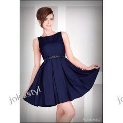 jokastyl GRANATOWA rozkloszowana sukienka PASEK S 36