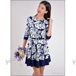 jokastyl GRANATOWA rozkloszowana sukienka PASEK XL 42 wzory Sukienki mini